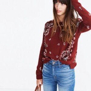MADEWELL Bandana Paisley Print Sweater Mahogany XS
